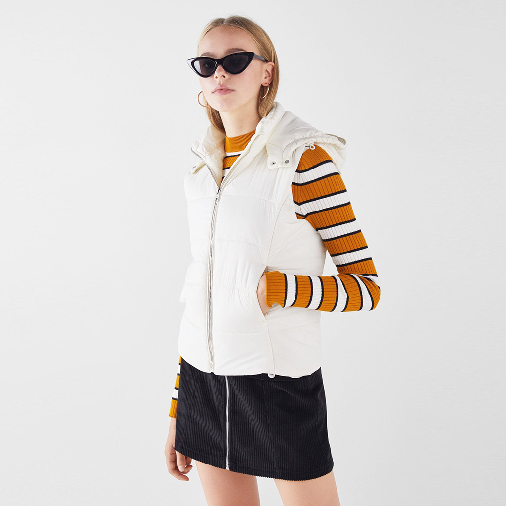 Quilted gilet hoodie